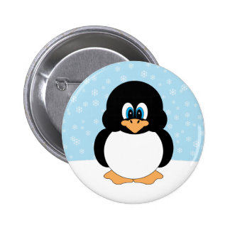 Penguin with Snowflakes Button