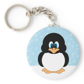 Penguin with Snowflakes Keychain