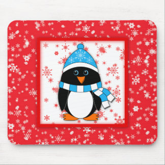 Penguin with Snowflakes Mouse Pad
