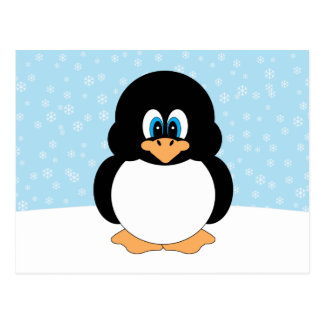 Penguin with Snowflakes Postcard