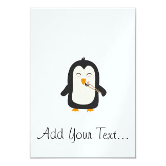 Penguin with sushi card