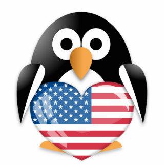 Penguin with USA flag Cutout