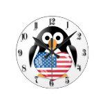 Penguin with USA flag Round Wallclock