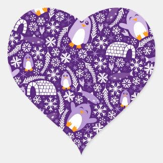 Penguin Wonderland Heart Sticker