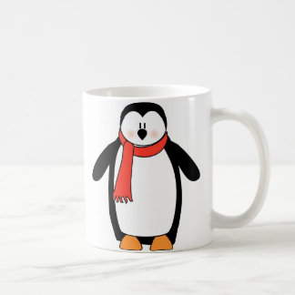 Penguin Wrapped in Red Scarf Coffee Mug