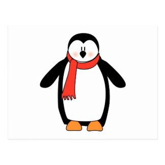 Penguin Wrapped in Red Scarf Postcard