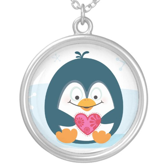 """PENGUIN """"you warm my heart"""" Silver Plated Necklace"""
