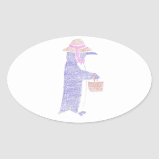Penguing With a Basket Oval Sticker