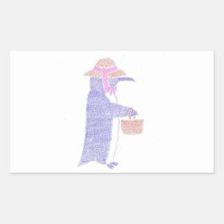 Penguing With a Basket Rectangular Sticker