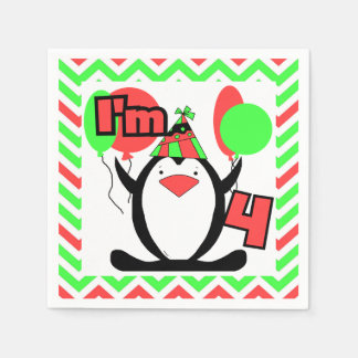 Penguins 4th Birthday Paper Napkins