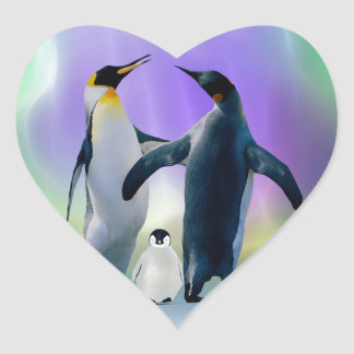 Penguins and baby in Aurora borealis Heart Sticker
