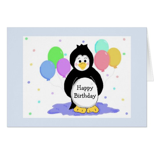 Penguins and Balloons Birthday Greeting Card