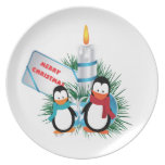 Penguins and candle Christmas custom Dinner Plates