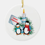 Penguins and candle Christmas custom Christmas Ornament