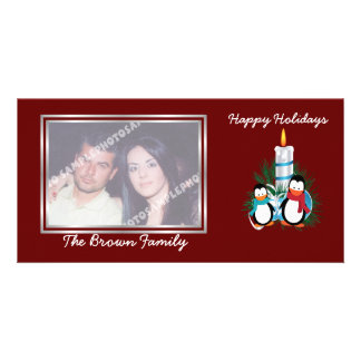 Penguins and candle Christmas custom Picture Card