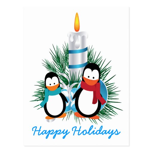 Penguins and candle Christmas custom Postcards