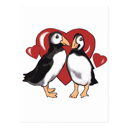 Penguins and Hearts Postcard