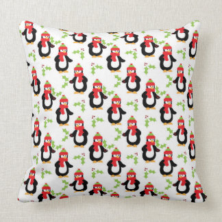 Penguins and Holly Leaves Christmas Pillows