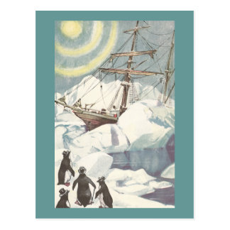 Penguins and Ship Stuck in Ice Postcard