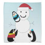 Penguins and Snow Man Bandana