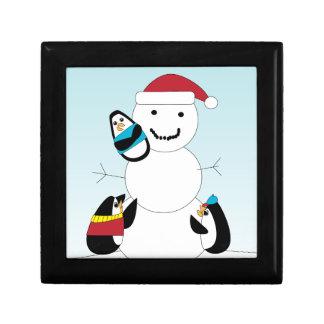 Penguins and Snow Man Keepsake Box