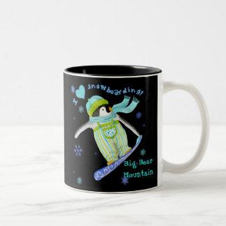 Penguins at Play I Love Snowboarding Mug