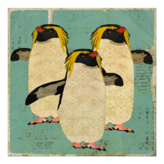 Penguins Blue Lagoon Art Poster