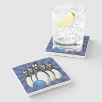 Penguins Bowling Stone Coaster