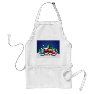 Penguins Christmas Carolers at Night Apron