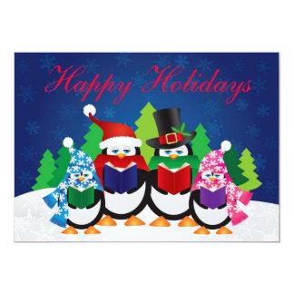 Penguins Christmas Carolers at Night Invitation