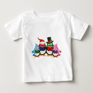 Penguins Christmas Carolers Illustration Baby T-Shirt