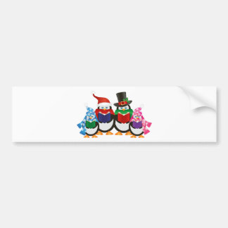 Penguins Christmas Carolers Illustration Bumper Sticker