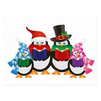 Penguins Christmas Carolers Illustration Postcard