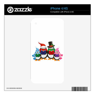 Penguins Christmas Carolers Illustration Skins For The iPhone 4