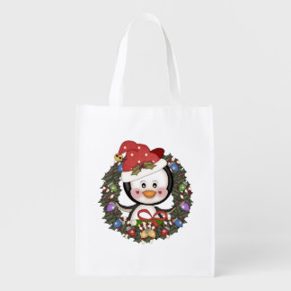 Penguins Christmas Reusable Grocery Bag