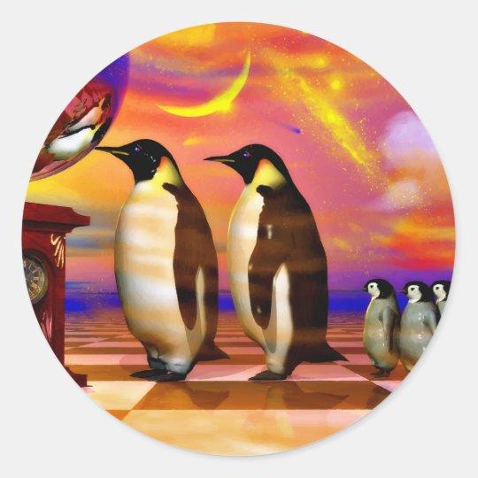 Penguins Classic Round Sticker