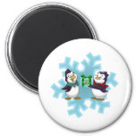 """Penguins """"Cool Yule"""" 2 Inch Round Magnet"""