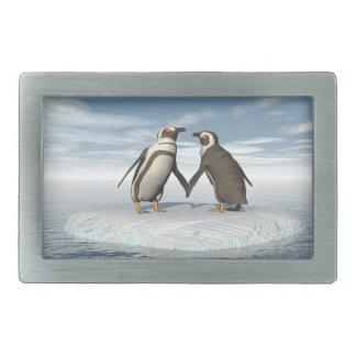 Penguins couple rectangular belt buckle