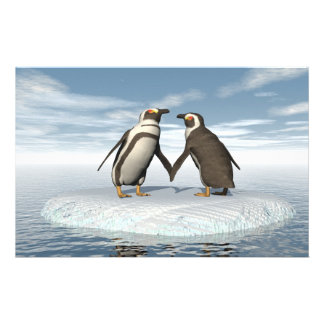 Penguins couple stationery