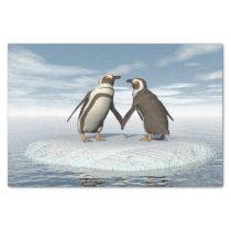 Penguins couple tissue paper