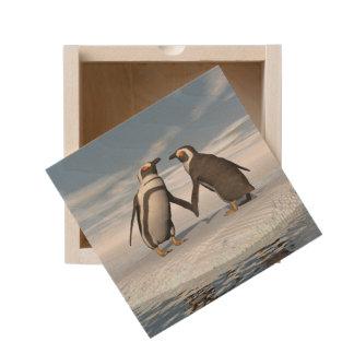 Penguins couple wooden keepsake box