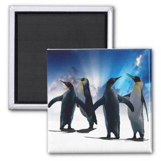 Penguins dance 2 inch square magnet