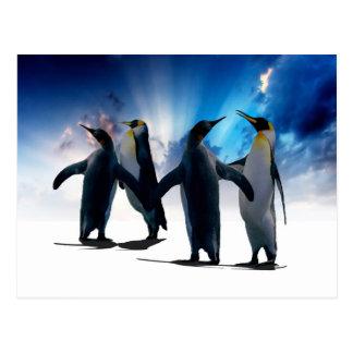Penguins dance postcard