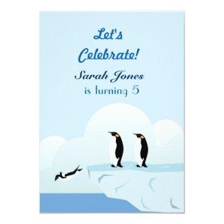 Penguins family 5x7 paper invitation card