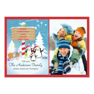 Penguins Family of 3 Holiday Christmas Photo Card