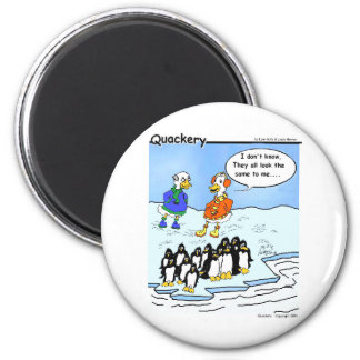 Penguins flew south 2 inch round magnet