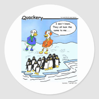 Penguins flew south classic round sticker