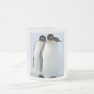 Penguins Frosted Glass Coffee Mug