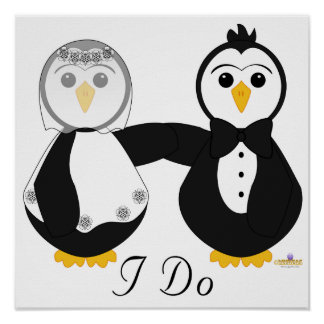 Penguins Getting Married I Do Poster