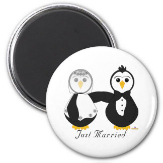 Penguins Getting Married Just Married 2 Inch Round Magnet